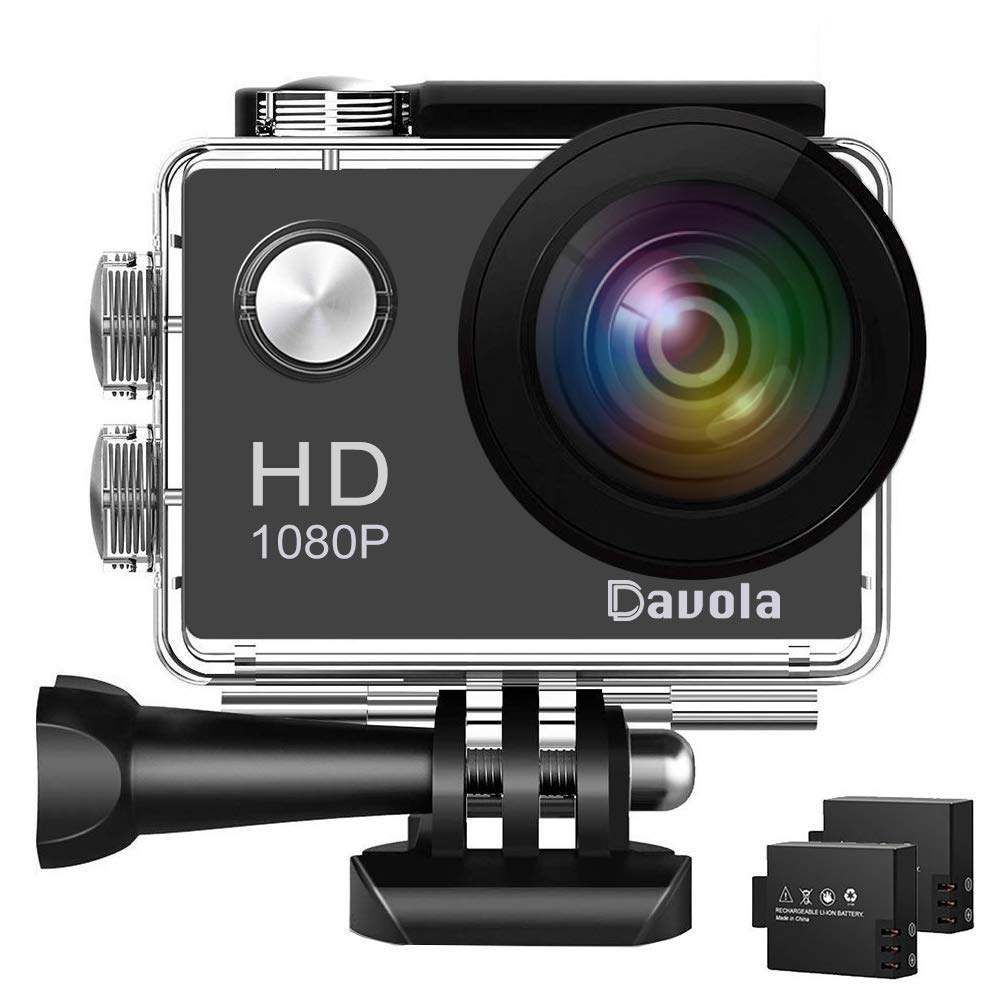 Action Camera Davola 1080P WiFi Sports Camera 12MP Underwater Waterproof Camera with Wide-Angle Lens and Mounting Accessory Kits by Davola