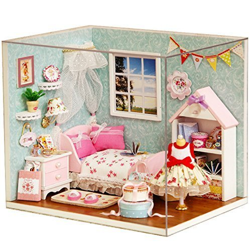 Rylai 3D Puzzles Wooden Handmade Dollhouse Miniature DIY Kit - Happy Little World Series Miniature Scene Wooden Dollhouses & Furniture/Parts(1:32 Scale Dollhouse) ()
