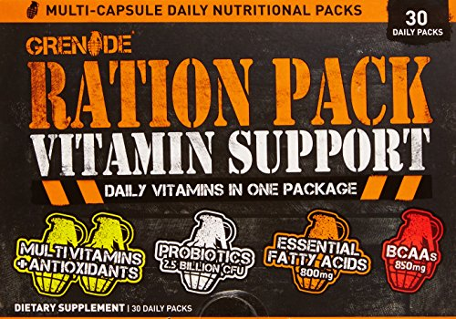 Grenade Ration Pack | Daily Multivitamin Supplement for Men & Women | Vitamins to Support Your Nutrition, Increase Energy & Improve Recovery | BCAA & Essential Fatty Acids | Multi Capsule, 30 Count - Pack Vitamin