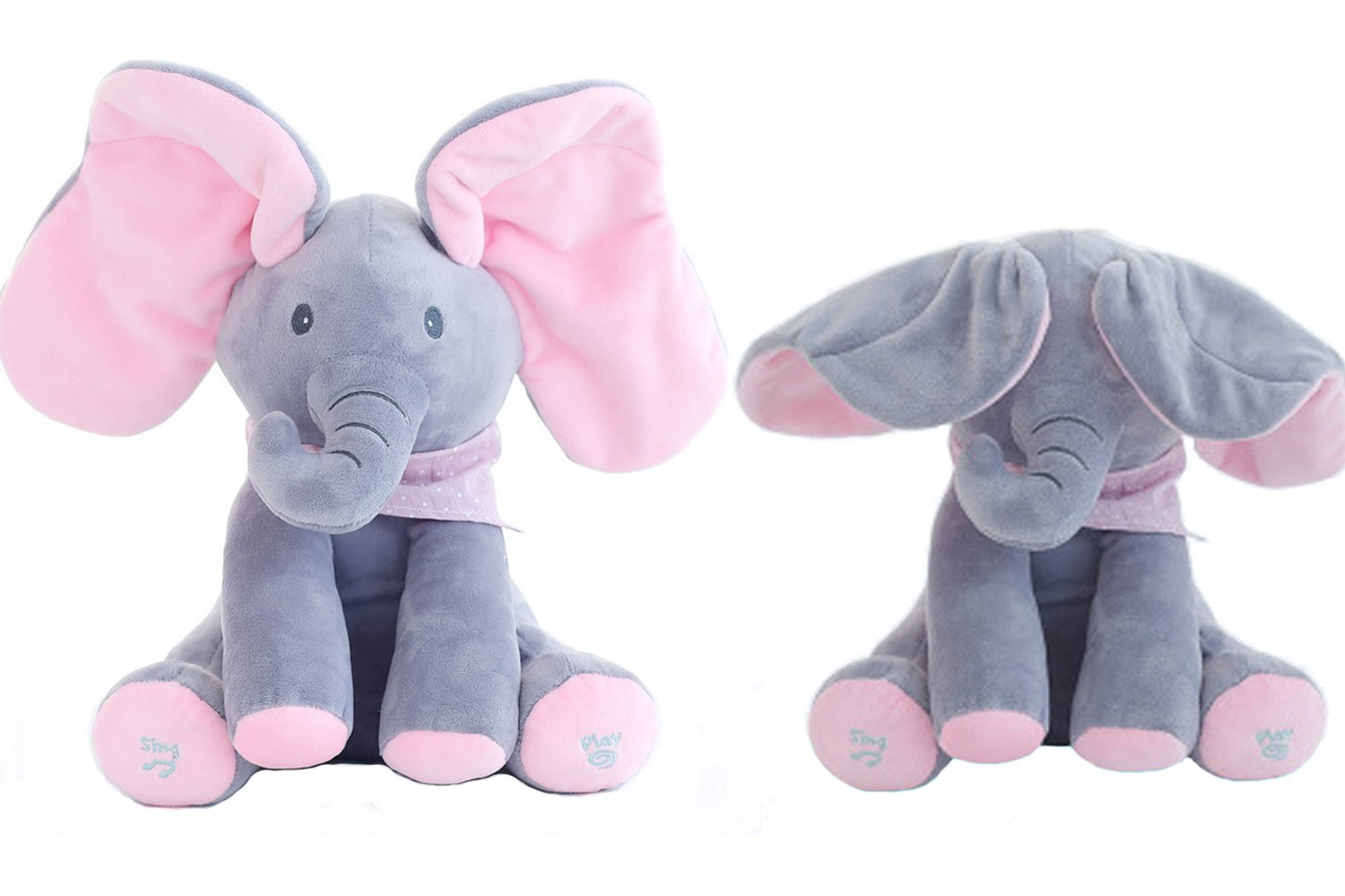 OMGOD Plush Toy peek-a-Boo Elephant, Hide-and-Seek Game Baby Animated Plush Elephant Doll Present - Pink by OMGOD