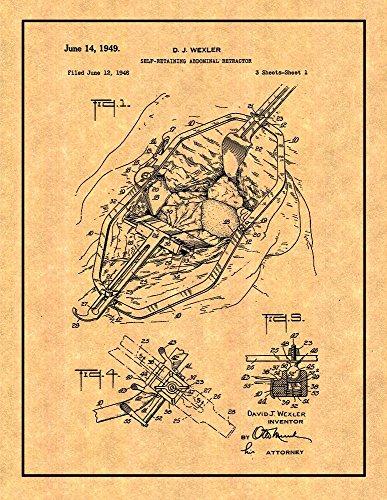 Retractors Retaining Self (Self-retaining Abdominal Retractor Patent Print with Border (5