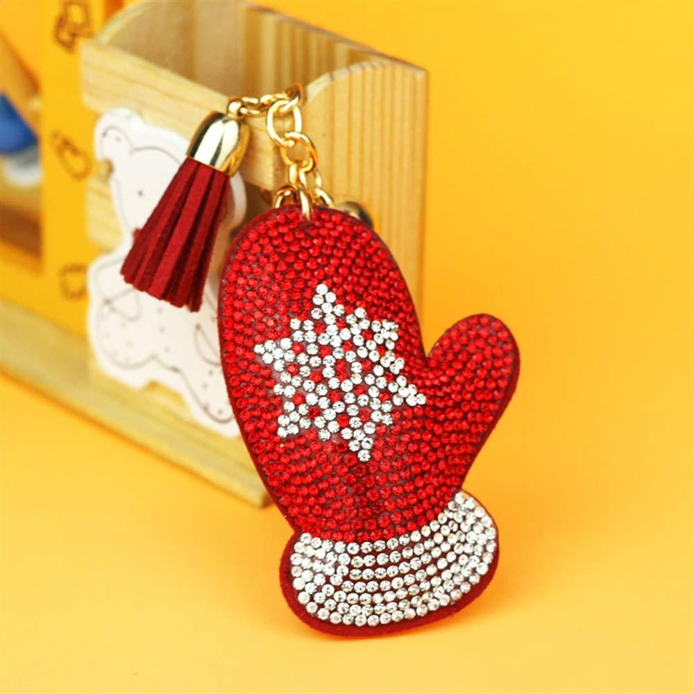 Dalino ファッションと個性的なクリスマス手袋 ペンダント タッセルキーリング ハンドバッグ カーチャームキーチェーンギフト (レッド)   B07HBR71YF