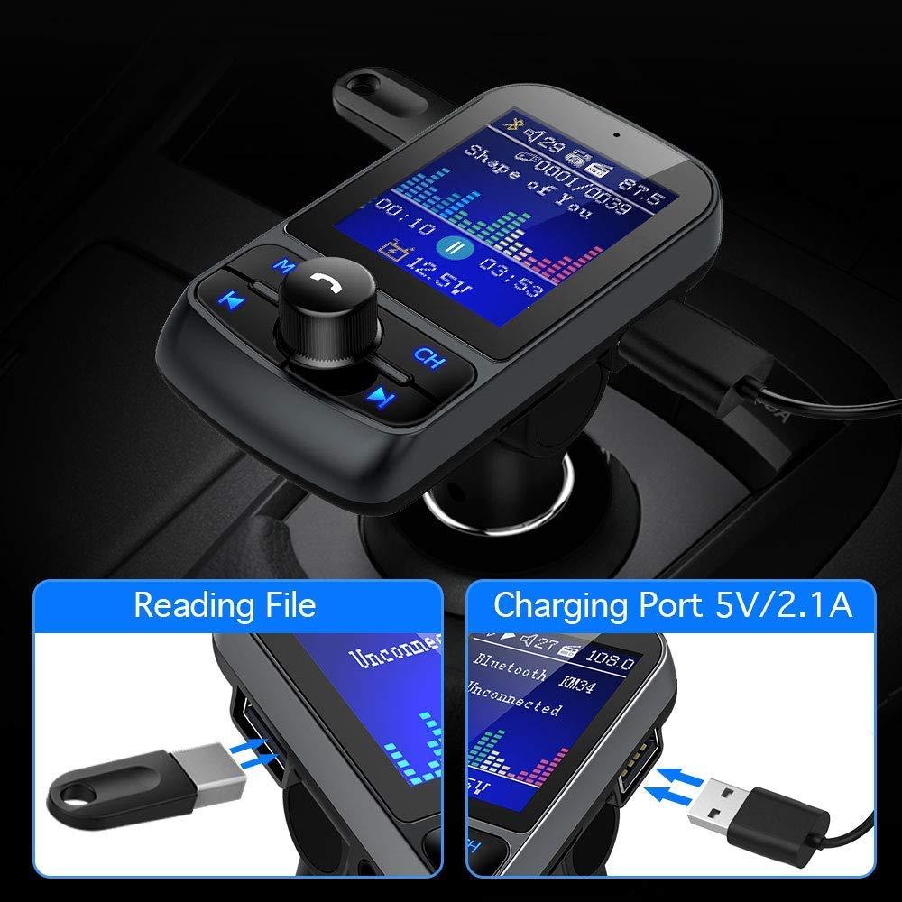 2.1A /¡/ Nulaxy Wireless Trasmettitore FM Radio con 1,8 Schermo a Colori e Caricabatteria da Auto USB 5V Bluetooth trasmettitore FM