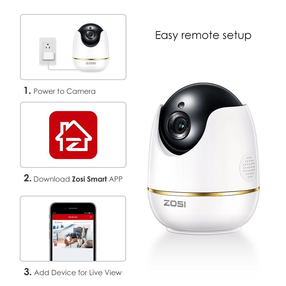 ZOSI 1 Pack 1080P Wireless Security Camera for Home, WiFi Camera Nanny  Elder Baby Monitor with Pan,Surveillance IP Camera PTZ Indoor,Two-Way Audio  and