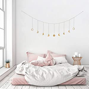 OCIOLI Moon Phase Garland with Chains Boho Hanging Ornaments Moon Hang Art Room Decor for Wedding Home Office Nursery Room Dorm (Gold Moon)