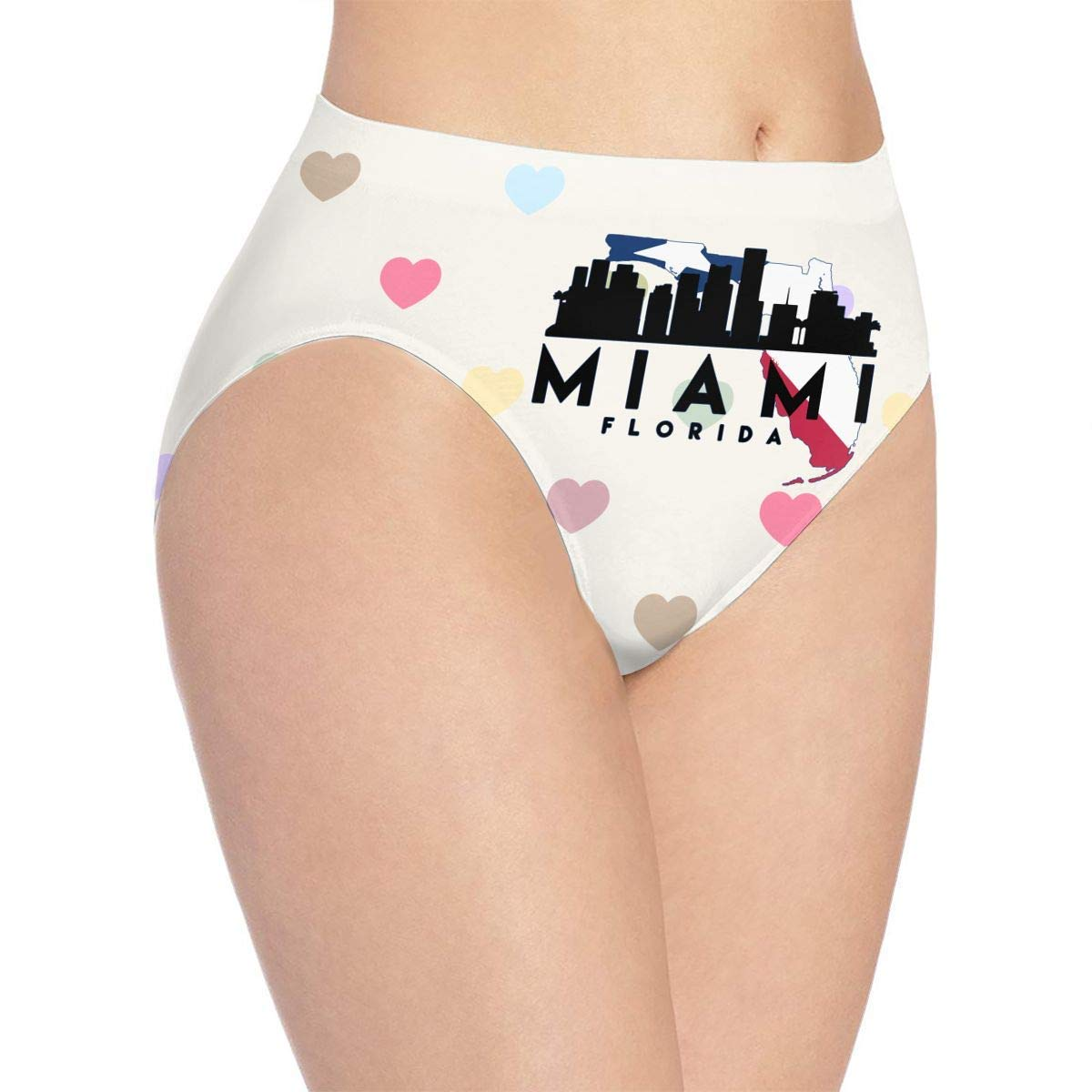 0681864a21c Amazon.com  Youth Girls Cute Sexy Miami Florida Silhouette Skyline MAP  Women s Cotton Bikini Underwear Briefs Low-Waist White  Clothing