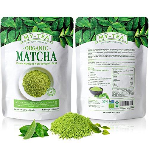 My Tea- Matcha Green Tea Powder Grown From Nutrient-Rich Volcanic Soil USDA Organic Japanese Premium Culinary Grade Green Tea Antioxidants | Pure Non-GMO | Vegan 100 grams Value Pack