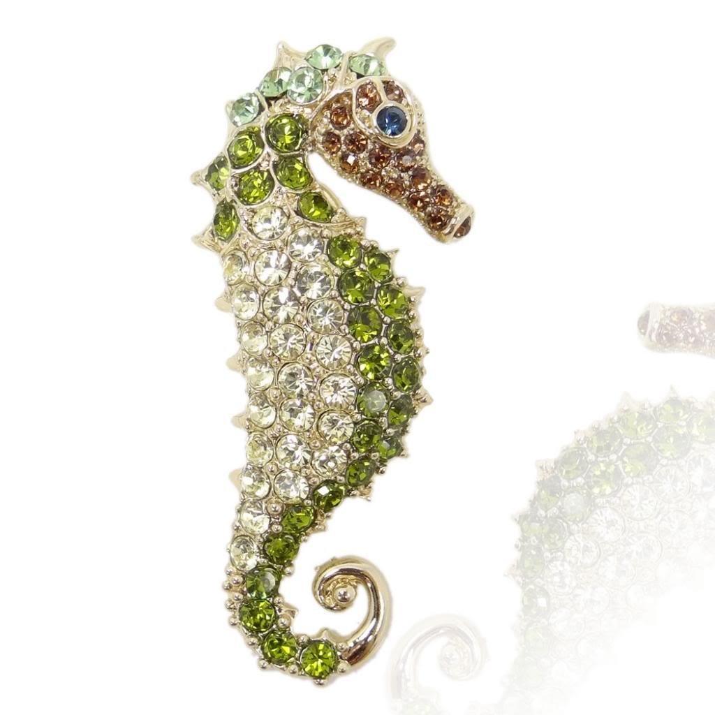 Ever Faith Gold-Tone Seahorse Brooch Austrian Crystal Green A01013-17
