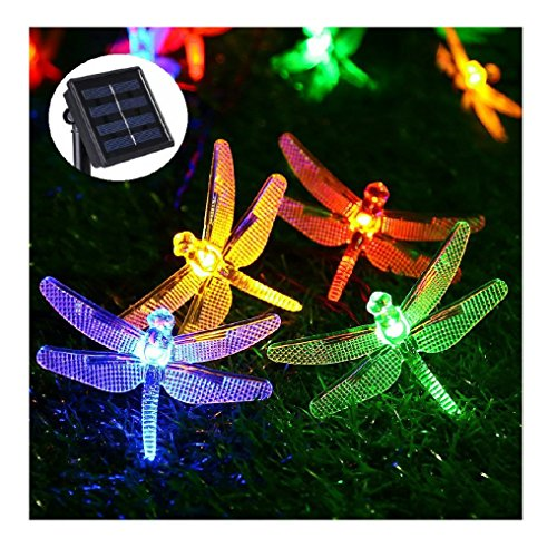 Dragonfly Mesh Candle Holder - Livingly Light 20 LED Outdoor Solar String Lights Dragonflies Shape for Christmas Trees Garden Party