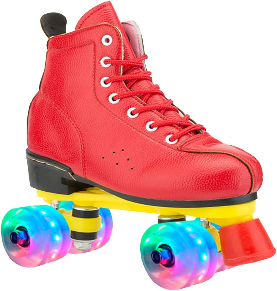 Amazon Com Lei Shop Roller Skate Shoes For Women And Men Indoor And Outdoor Red And Black Led Home Kitchen