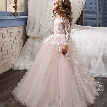 eea8c4146 Las niñas de Flores de Primera comunión Vestido de Encaje Apliques Bordados  niños Princesa Dama de