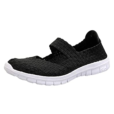 a972bcb58b353 Frestepvie Womens Braided Woven Shoes Colorful Breathable Flatform ...