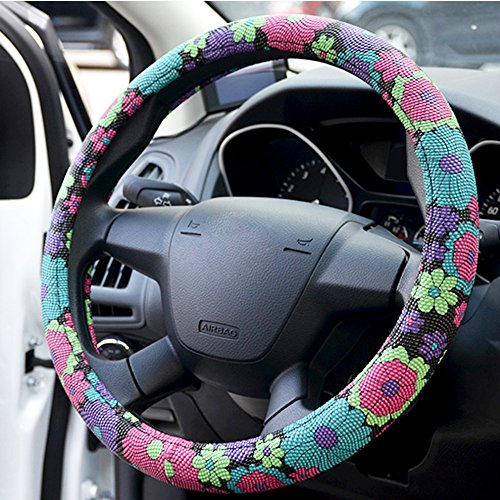 COOL SUMMER Flower Series, A-Lighting GOOD SMELLING Automotive PU Steering Wheel Cover - Anti Slip Auto Car Wrap Cover (Steering Wheel Flowers compare prices)