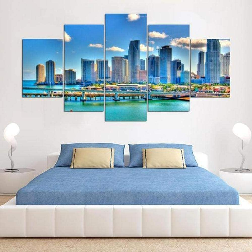 ADKMC Canvas Wall Art 5 Pieces for Living Room Bathroom Bedroom Office Kitchen Modern Home Decor Prints Artwork Framed Miami Florida Cityscape Landscape Poster (150x80cm Frame)