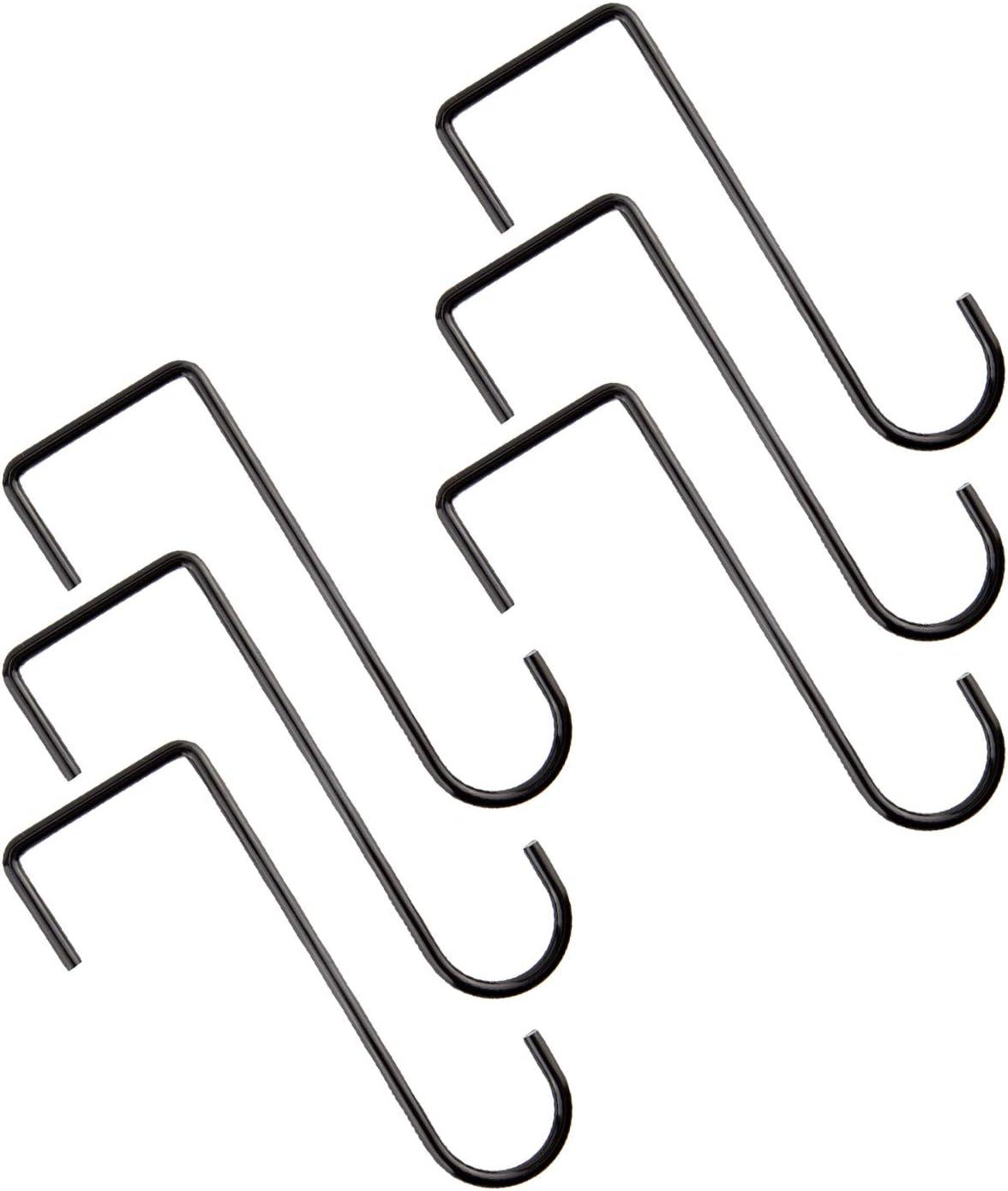 AIEX 6 Pieces Vinyl Fence Hooks Plant Hanger Stainless Steel Wall Hanging Brackets for Indoor & Outdoor Hanging Lights, Plants & Planters, Bird Feeder, Gardening Decoration 2x6inch (Black)