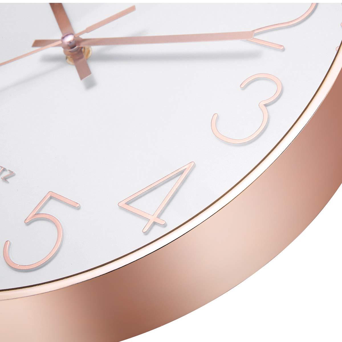 Jeteven 12\'\' Rose Gold Wall Clock Silent Non-ticking Wall Clock for Living Room Bedroom Decor