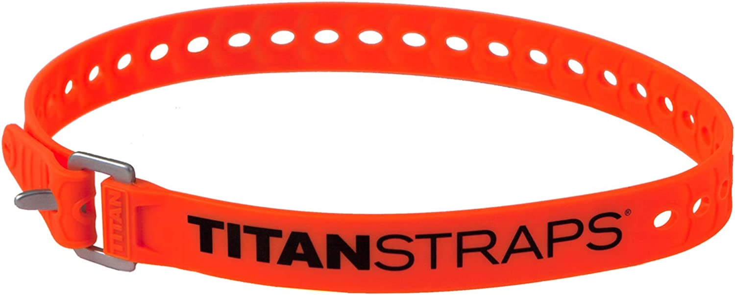 """Titan Utility Straps – Safety Strap Set to Secure Splits, Cargo Bikes, Garden Hoses, Wood Working Projects – 60 lb. Working Load, 25"""" Length, Fluoro Orange, 4-Pack"""