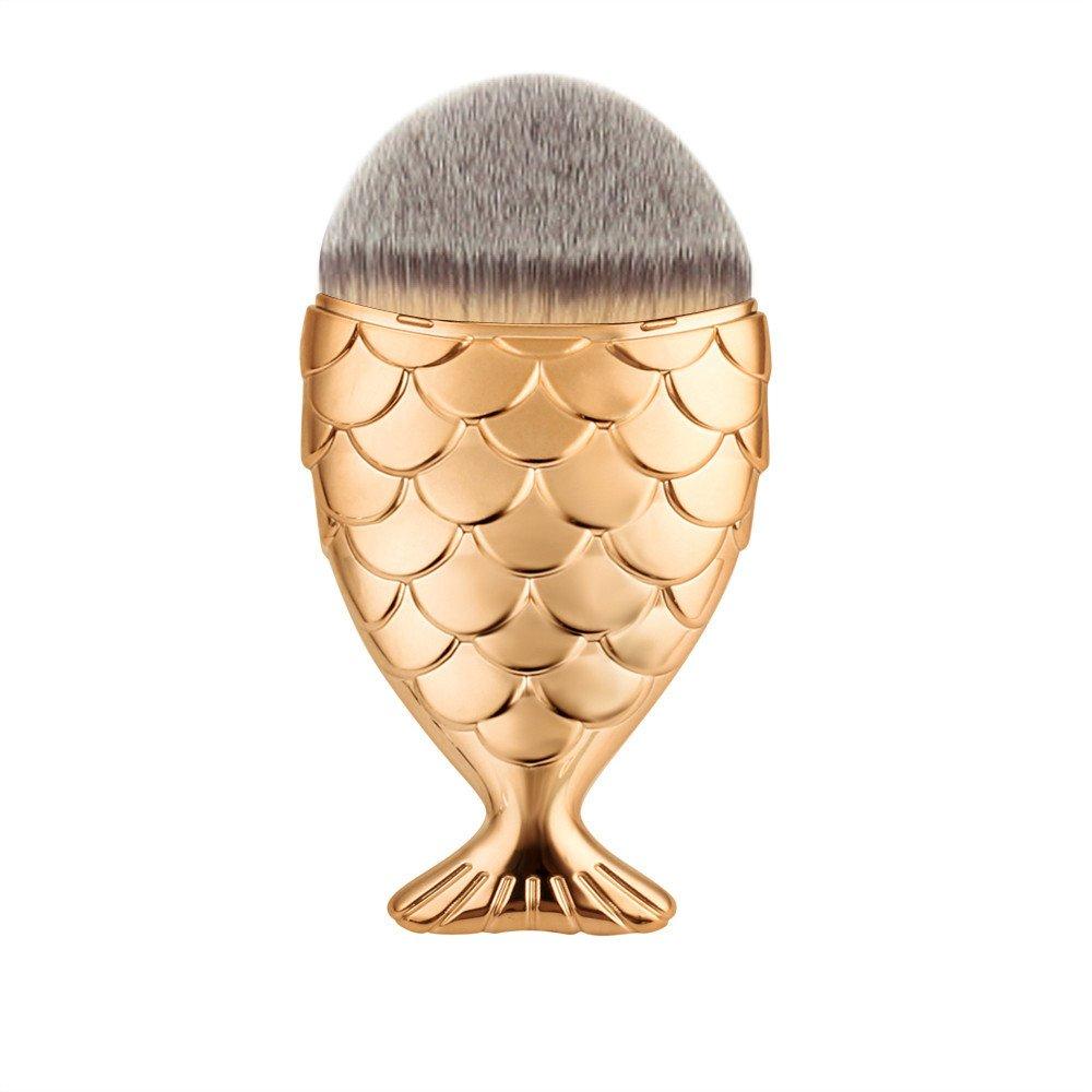 Make up Brush Vovotrade Fisch-Skala Make-up Pinsel Fischschwanz Boden Pinsel Pulver Blush Make-up Kosmetik Pinsel Werkzeug( Rose Gold)