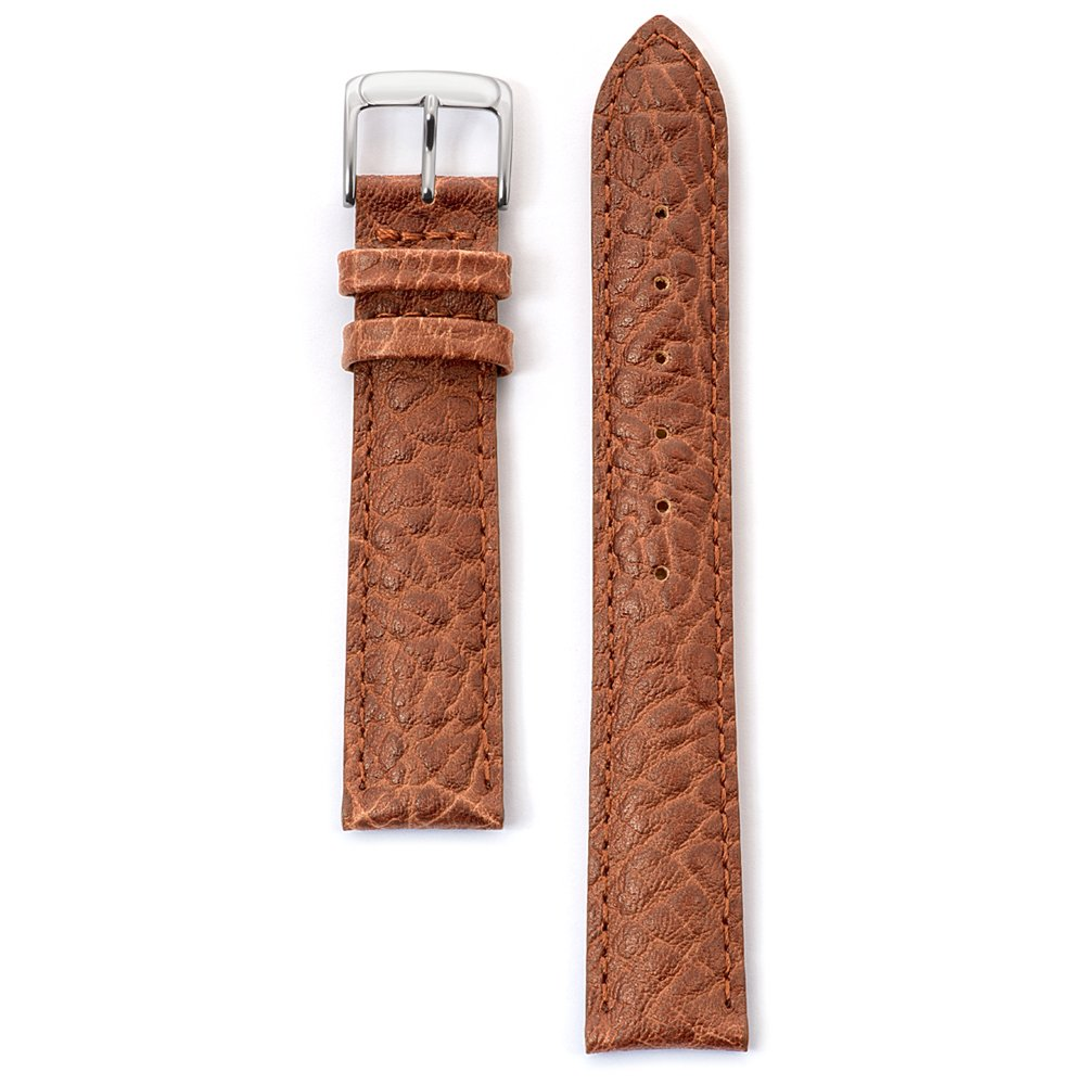 Speidel Genuine Leather Watch Band 18mm Honey Cowhide Buffalo Grain Replacement Strap, Stainless Steel Metal Buckle Clasp, Watchband Fits Most Watch Brands by Speidel (Image #2)