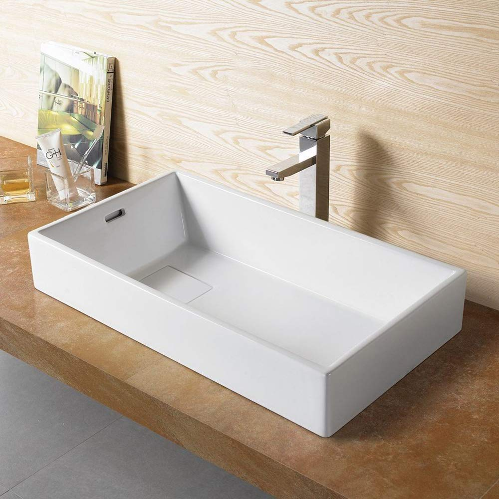 Bathroom Rectangular Ceramic Porcelain Vessel Vanity Sink 7235- Included Chrome Pop Up Drain with no overflow