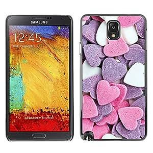 FECELL CITY // Duro Aluminio Pegatina PC Caso decorativo Funda Carcasa de Protección para Samsung Note 3 N9000 N9002 N9005 // Heart Candy Sweet Valentines Pink White