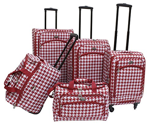 american-flyer-houndstooth-spinner-luggage-set-5pc-red