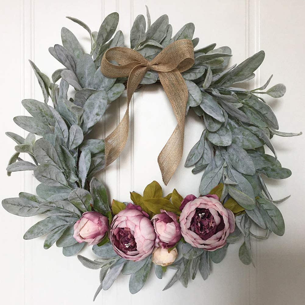 /æ/— Artificial Succulent Wreath Creative Handmade Simulation Garland for Front Door Wreath for Home Party Wedding Corridor Wall Decoration