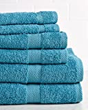 HomeCrate Deluxe 100% Cotton 6 Piece Towel Set - Teal - Hotel Quality, Super Soft and Highly Absorbent