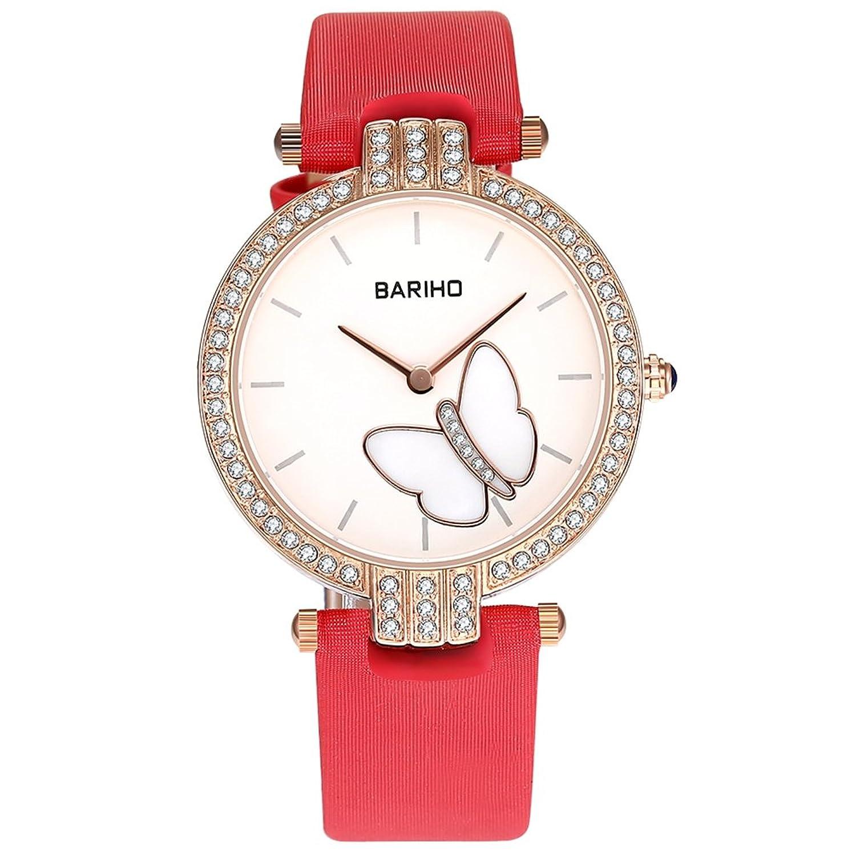 女性のエレガントなアナログクオーツ腕時計本革バンド作成ダイヤモンドPavedスポーツウォッチビジネスカジュアルDesigner傷防止面防水30 M シルバー B072P13FDHシルバー