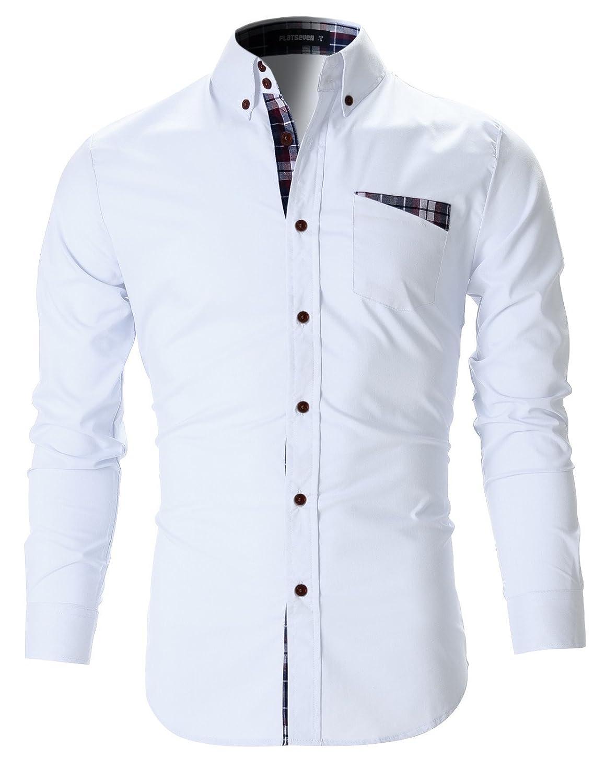 TALLA S. FLATSEVEN Camisas De Vestir Slim Fit Clásico Hombre