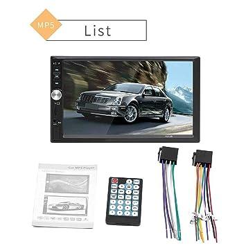 Biback Estéreo Bluetooth Automóvil, Radio Automóvil Reproductor Diente Azul Reproductor Mp5 Pantalla Táctil 7 Pulgadas DIN Reproductor Inversión Pantalla ...