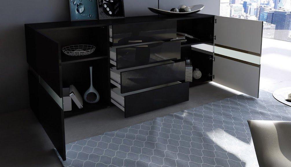 Credenza Moderna Led : Credenza moderna faro mobile nero con led amazon casa e cucina