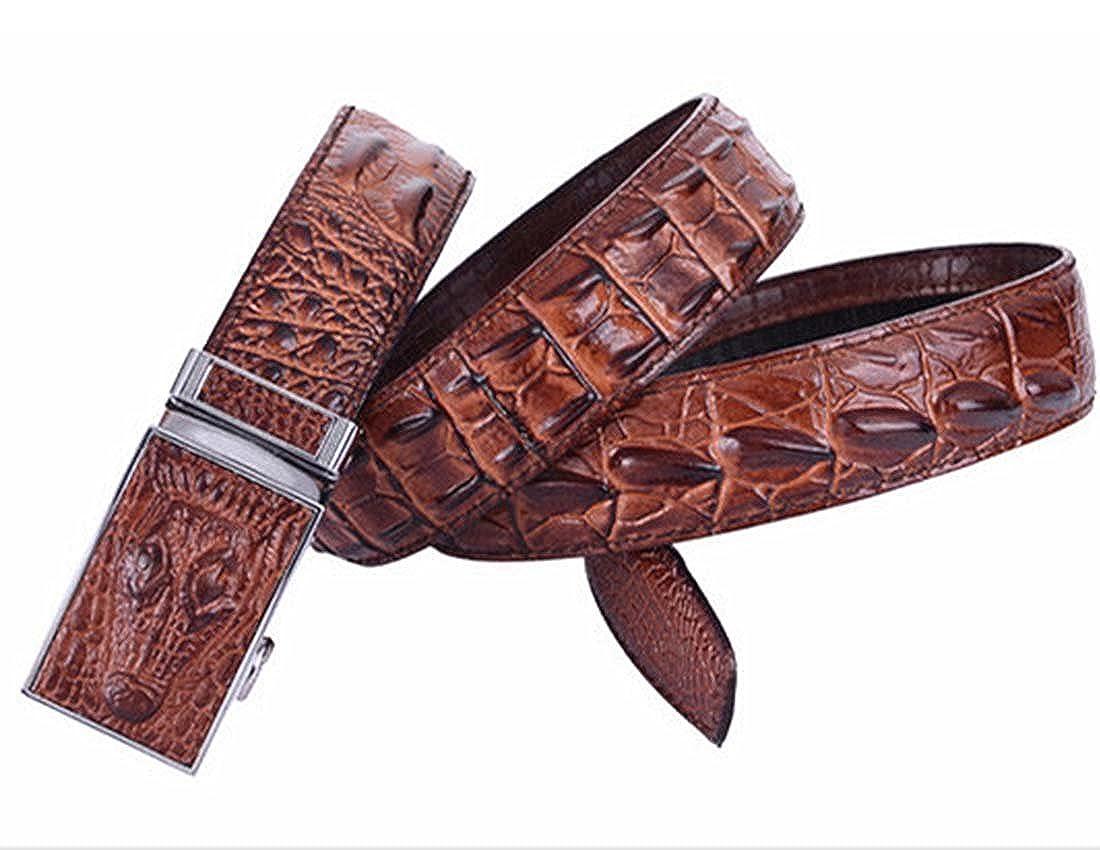 Nidicus Mens Casual 38mm Auto Removable Buckle Rachet Alligator Leather Belt