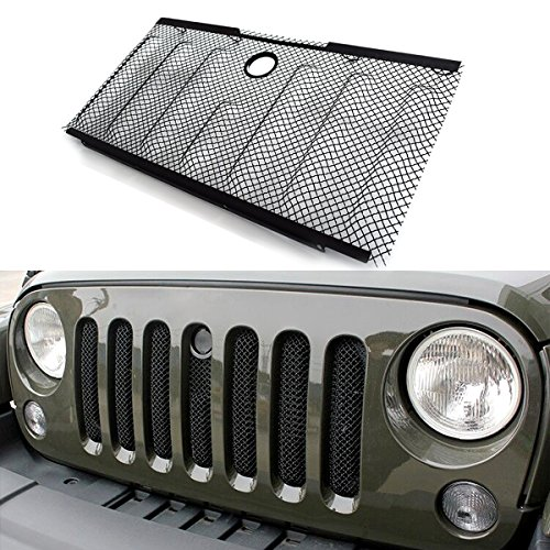 Womens Bug Shield Cargo (ICARS New Front Mesh Grille Grill Grid Inserts Insect Net with Key Hood Lock for 2007 2008 2009 2010 2011 2012 2014 2013 2014 2015 Jeep Wrangler JK JKU)