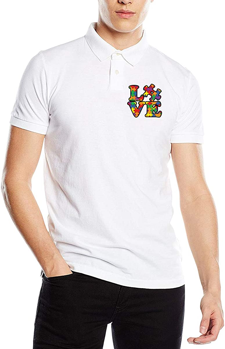 Mens Autism Awareness Puzzle Piece Short Sleeves Polo Sport Shirt