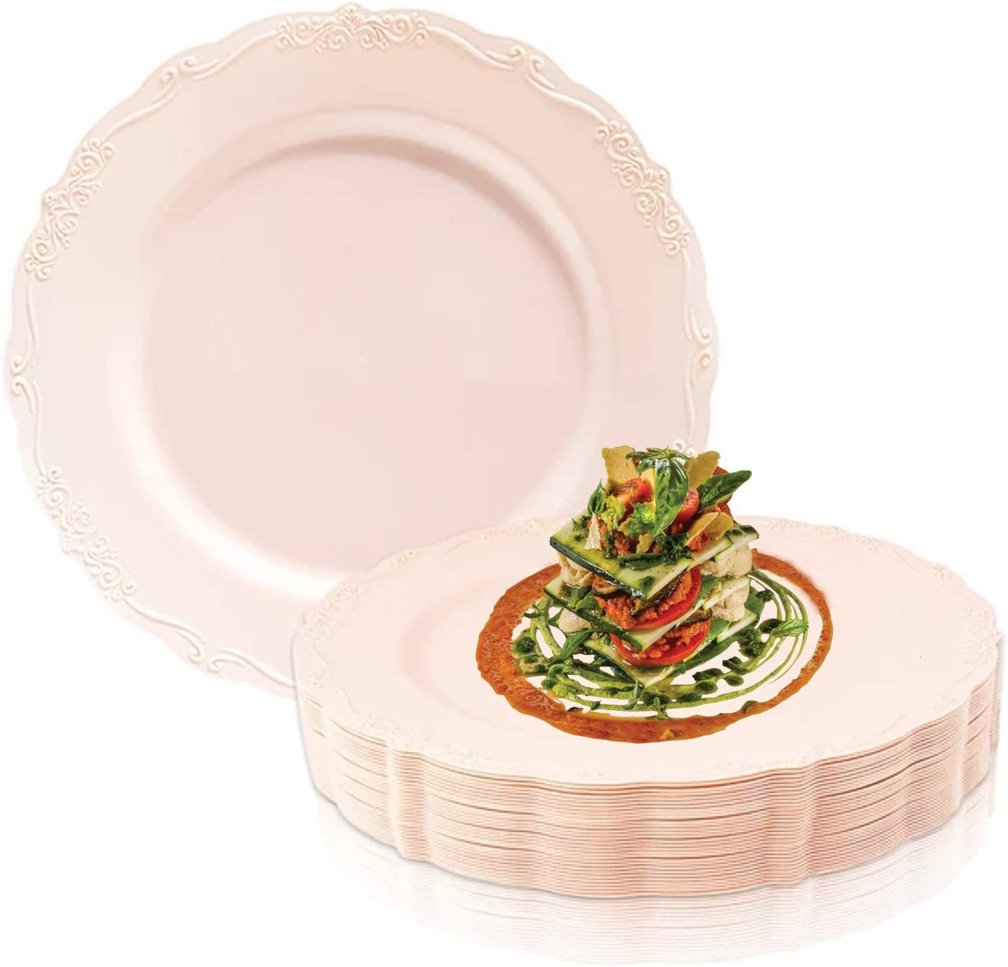 120pcs Square Dinner Plates or Salad Plates Wedding /& Party Supplies Reusable Large Plates Disposable Plastic Plates Deluxe Quality