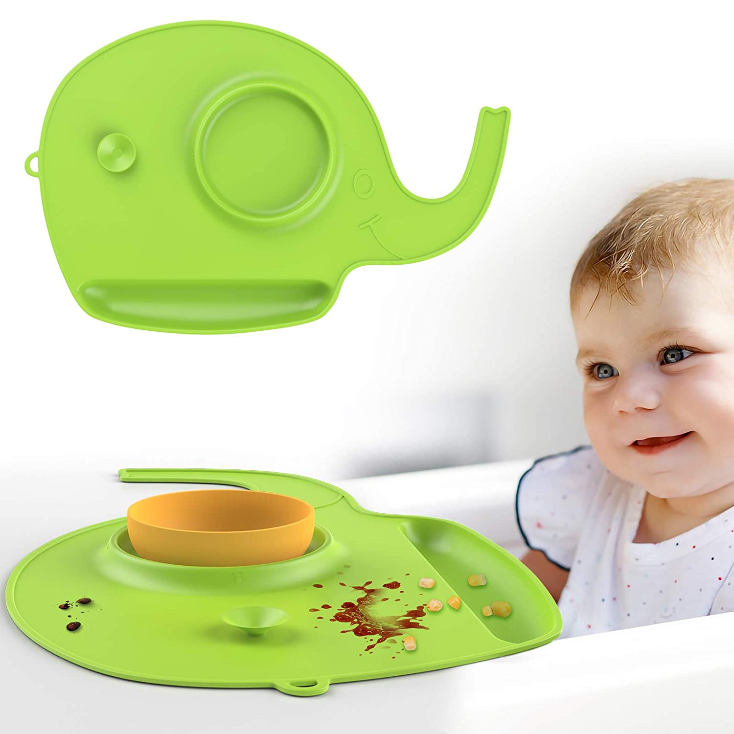 Zooawa Baby Food Catching Placemat, Non-Slip Food-Grade Silicone Foldable Mat Machine Washable Multiple Application Easy to Use with Adorable Animal Shape Soft Flexible Heat-Resistant, Green