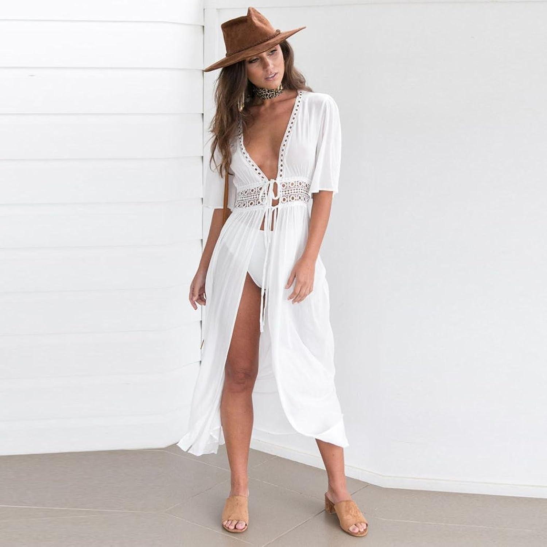 Damen Kleider Frauen Dress Weiß Maxikleid Minikleid V-Ansatz ...