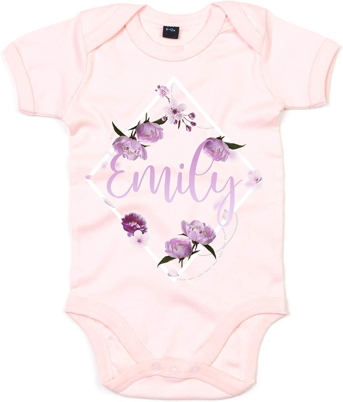 Personalised Baby Grow Floral Baby Clothing Personalised Babygrows Custom Baby Name Gifts Flower Custom Name Babygrow