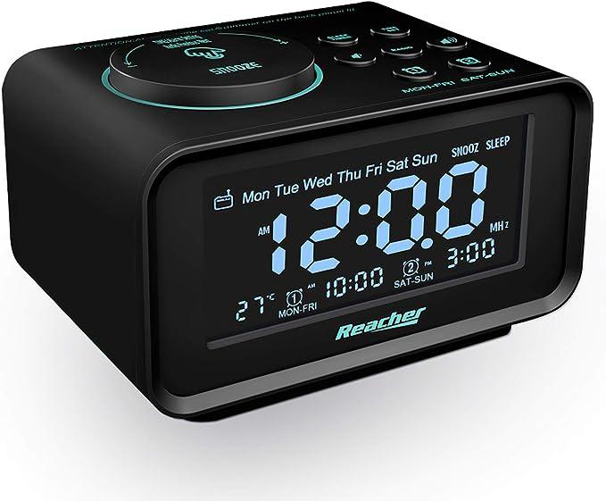 Reacher Radio Despertador Digital FM con Puertos USB, Alarma