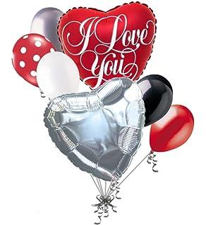 Amazon Com 7 Pc Emoji Love Happy Valentines Day Balloon Bouquet