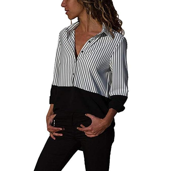 Overdose Blusa para Mujer Nueva OtoñO Verano Moda Casual Manga Larga Color Block Stripe Button Camisetas