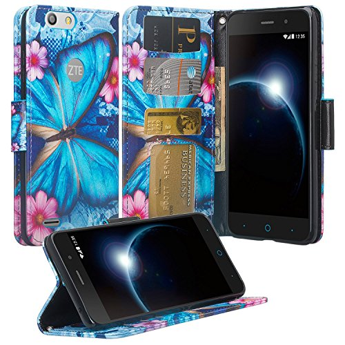 Phonelicious Wallet Case Series For ZTE AVID 557 / ZTE TEMPO GO, PU Leather Case Premium Pouch ID Credit Card Cover Flip Folio Book Style with Money Slot +Pen (BLUE BUTTERFLY) (Cover 557)