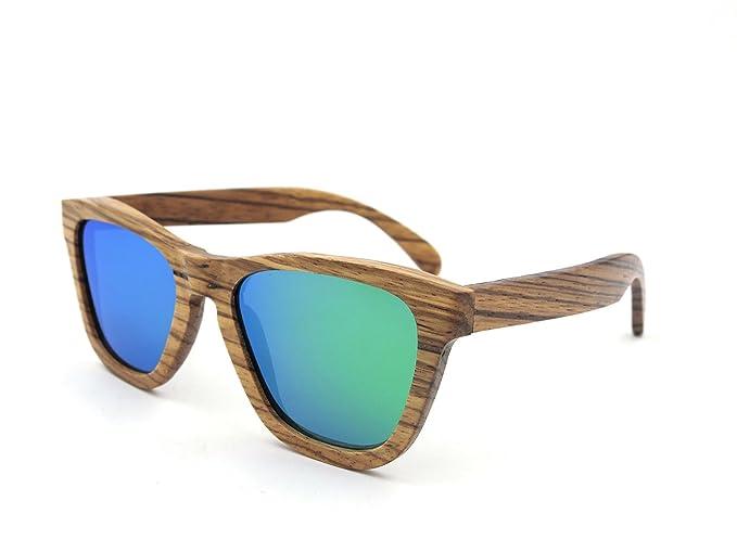LiHOOD Gafas de sol de madera de Zebra Lente Verde de bambú ...