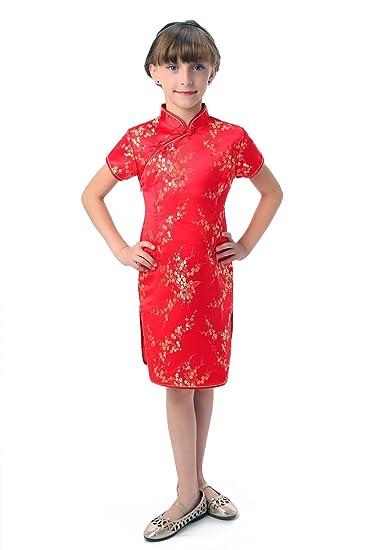 b511a937b2afa Bitablue Girls Red Chinese Dress with Golden Wintersweet Blossom