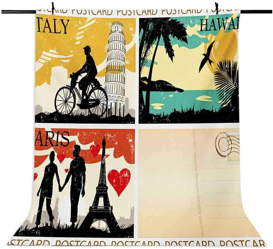 Retro 10x12 FT Backdrop Photographers,Postcards from Italy Hawaii Paris Exotic Places in The World Nostalgic Times Print Background for Party Home Decor Outdoorsy Theme Vinyl Shoot Props Multicolor
