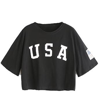 81aa8e238ccf7 SweatyRocks Women s Letter Print Crop Tops Summer Short Sleeve T-shirt  (X-Small