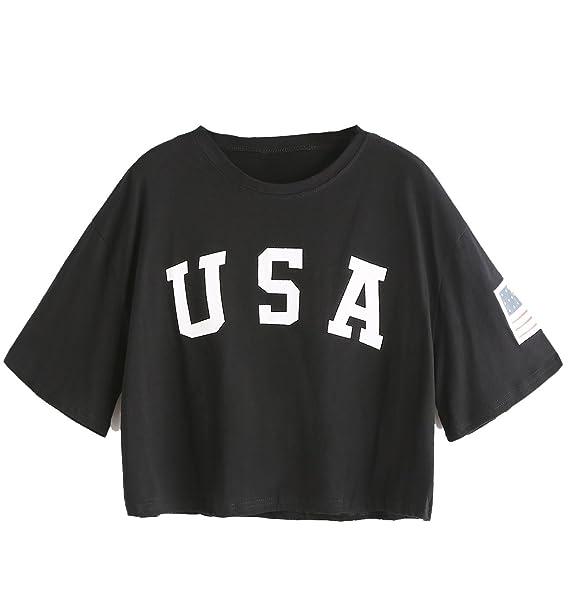 b49058501e5 SweatyRocks Women's Letter Print Crop Tops Summer Short Sleeve T-shirt  (Small, Black