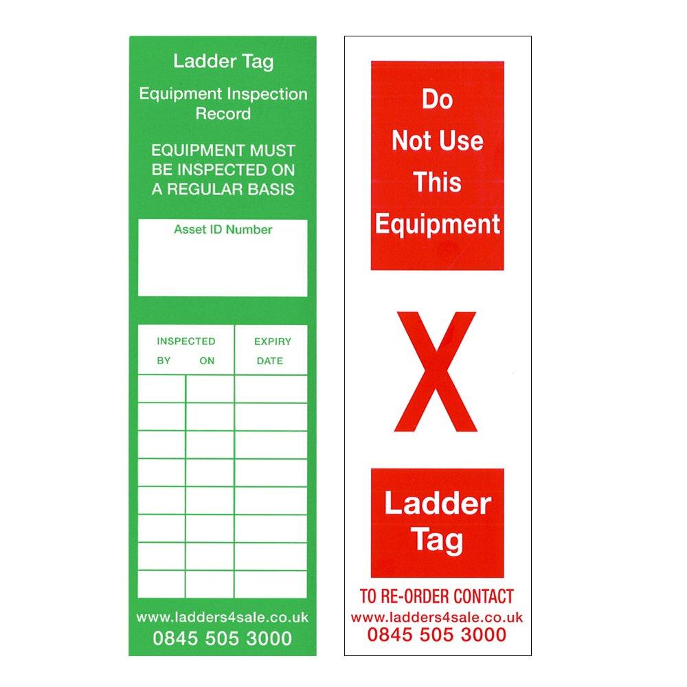 Ladders4Sale - Pack de 10 etiquetas de inspección para escalera de ...