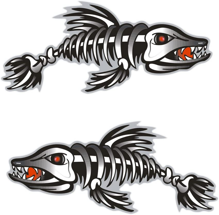 Set 2 Skeleton Fish Bone Decal Stickers for Boat  Surfboard Car Truck